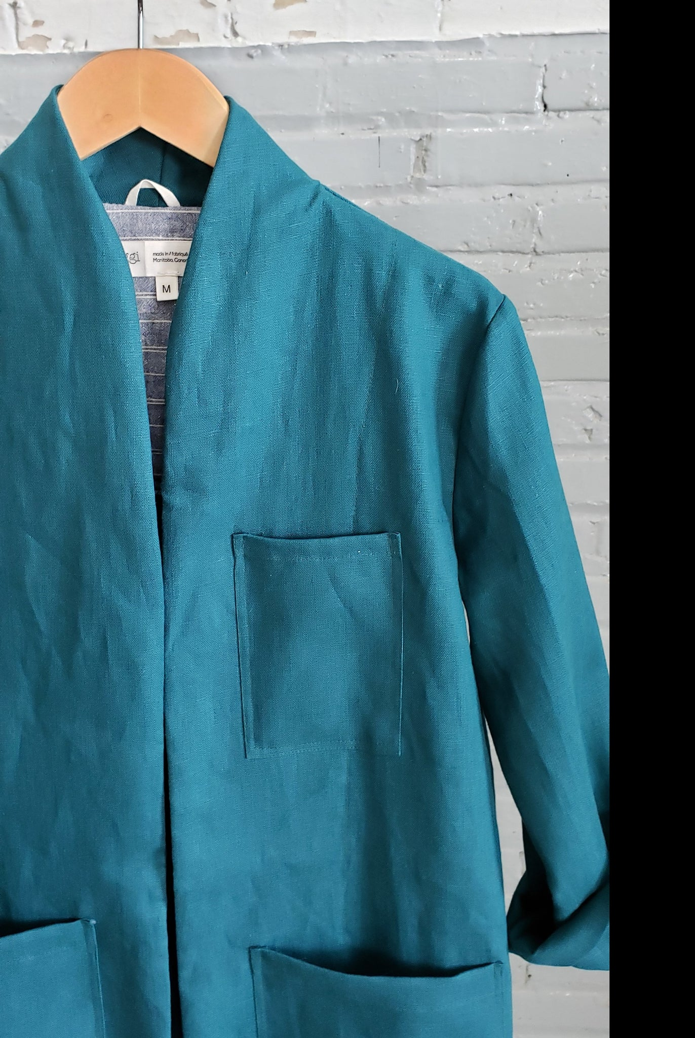 handmade teal linen lab coat for women