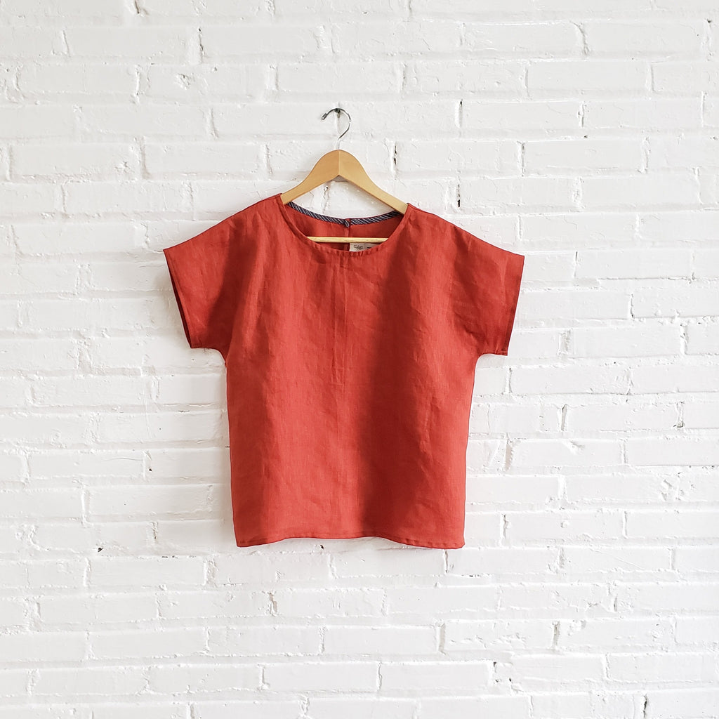tee, persimmon, size xs/s