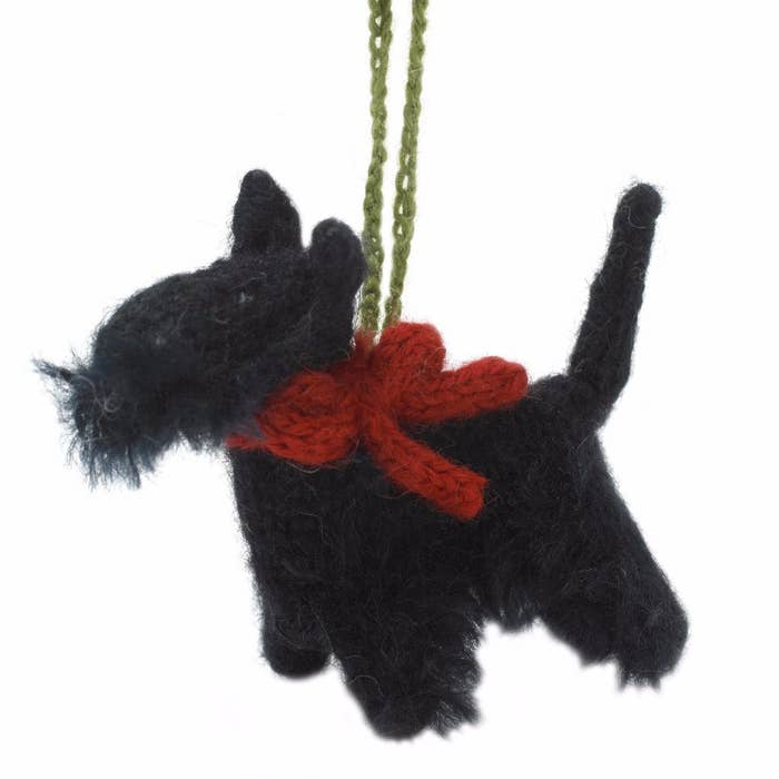 Hand Knit Scottie Ornament
