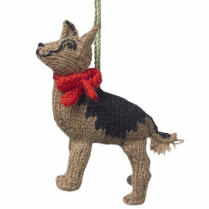 Hand Knit German Shepherd Ornament