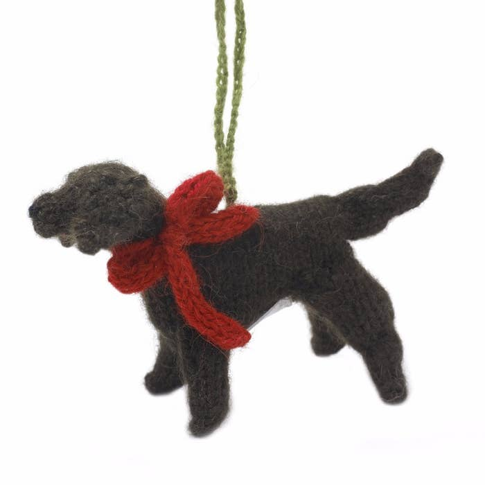Hand Knit Chocolate Lab Ornament