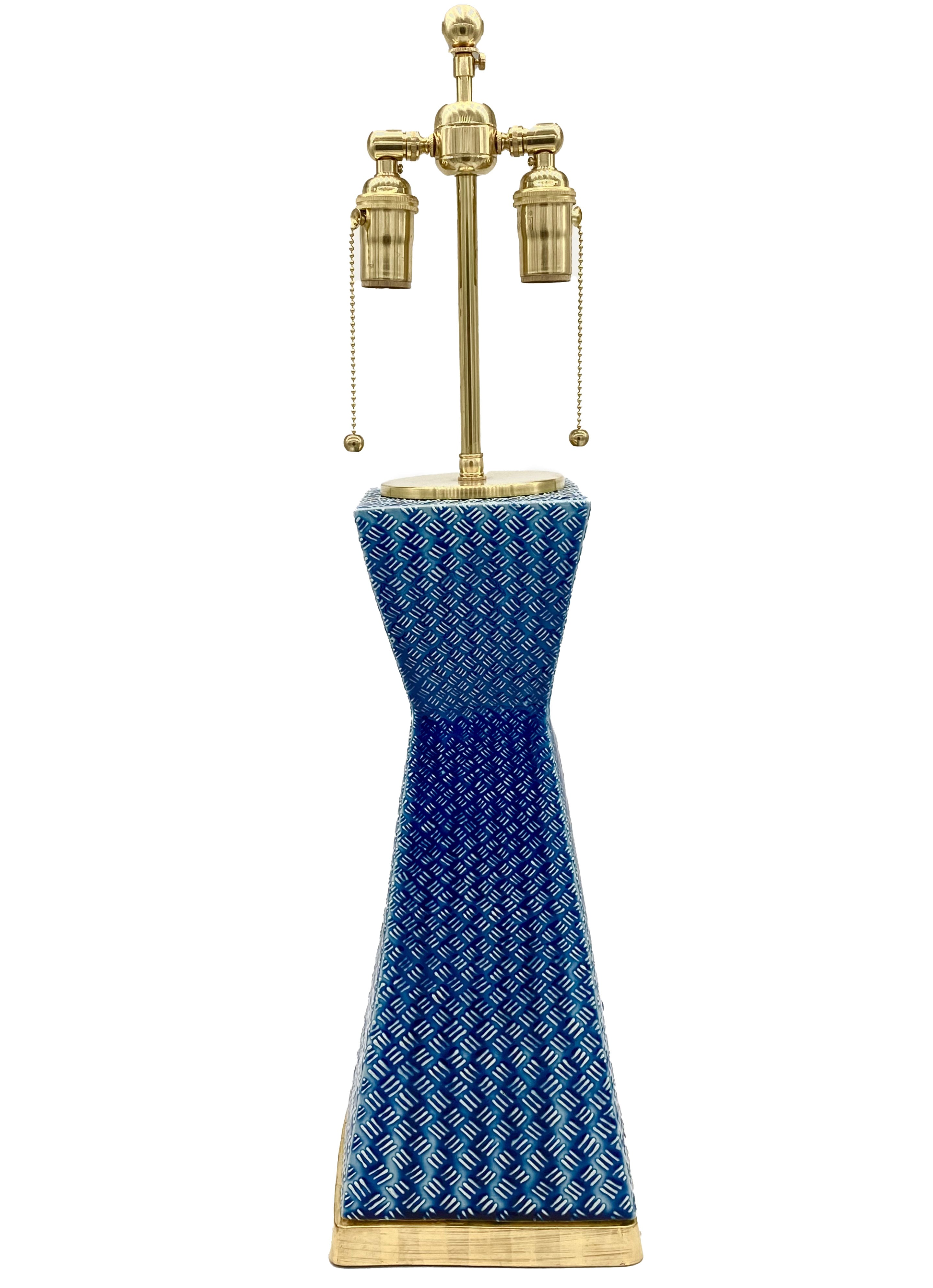 Christopher Spitzmiller Melissa Lamp with Tight Basket Weave