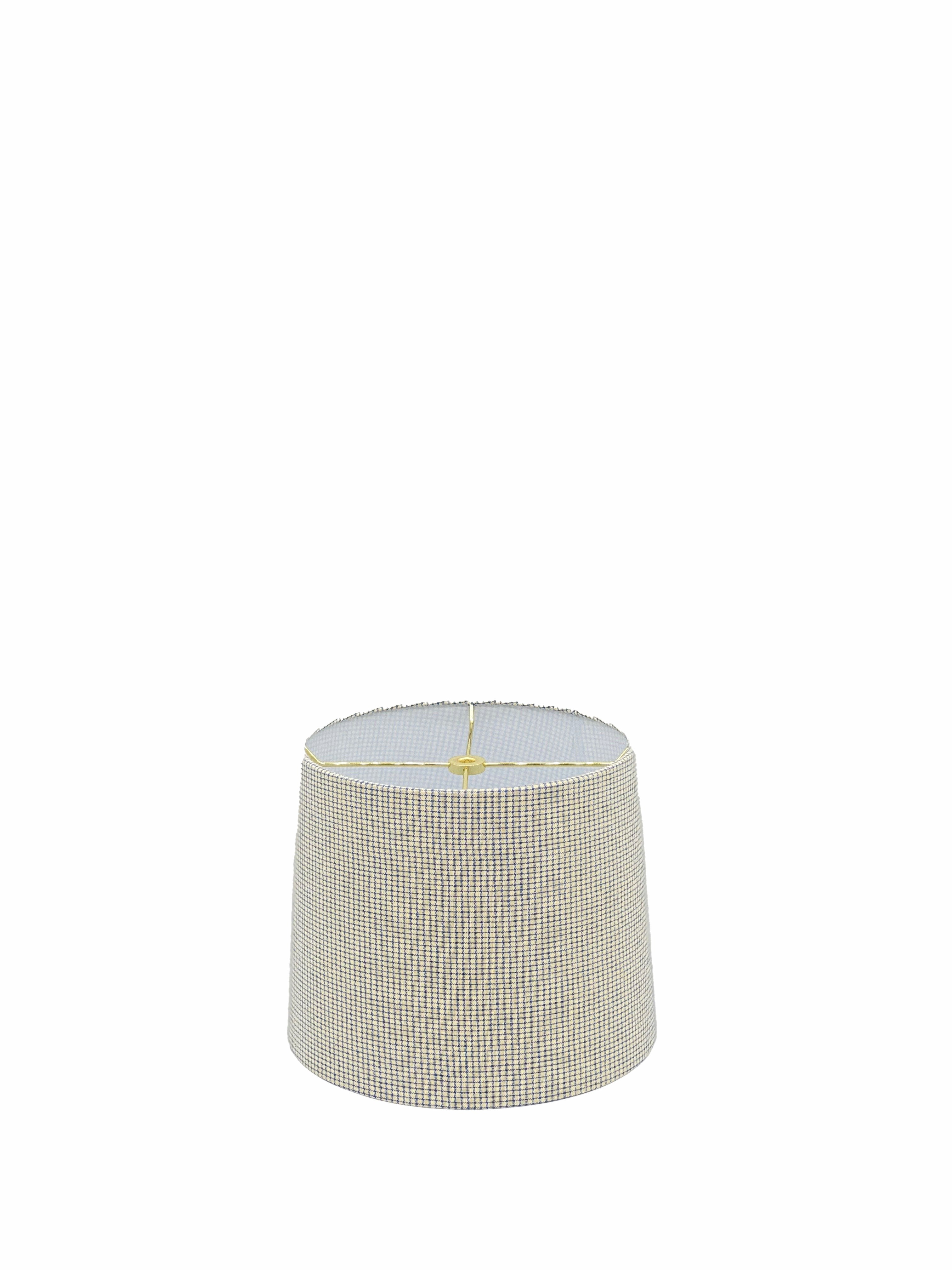 Drum - Blue/ Neutral Check Lampshade