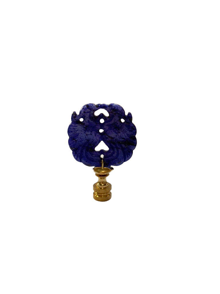 Dyed Jade Blue Twin Phoenix Finial