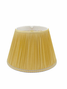 Gathered Beige Silk Empire Lampshade, Braided Trim