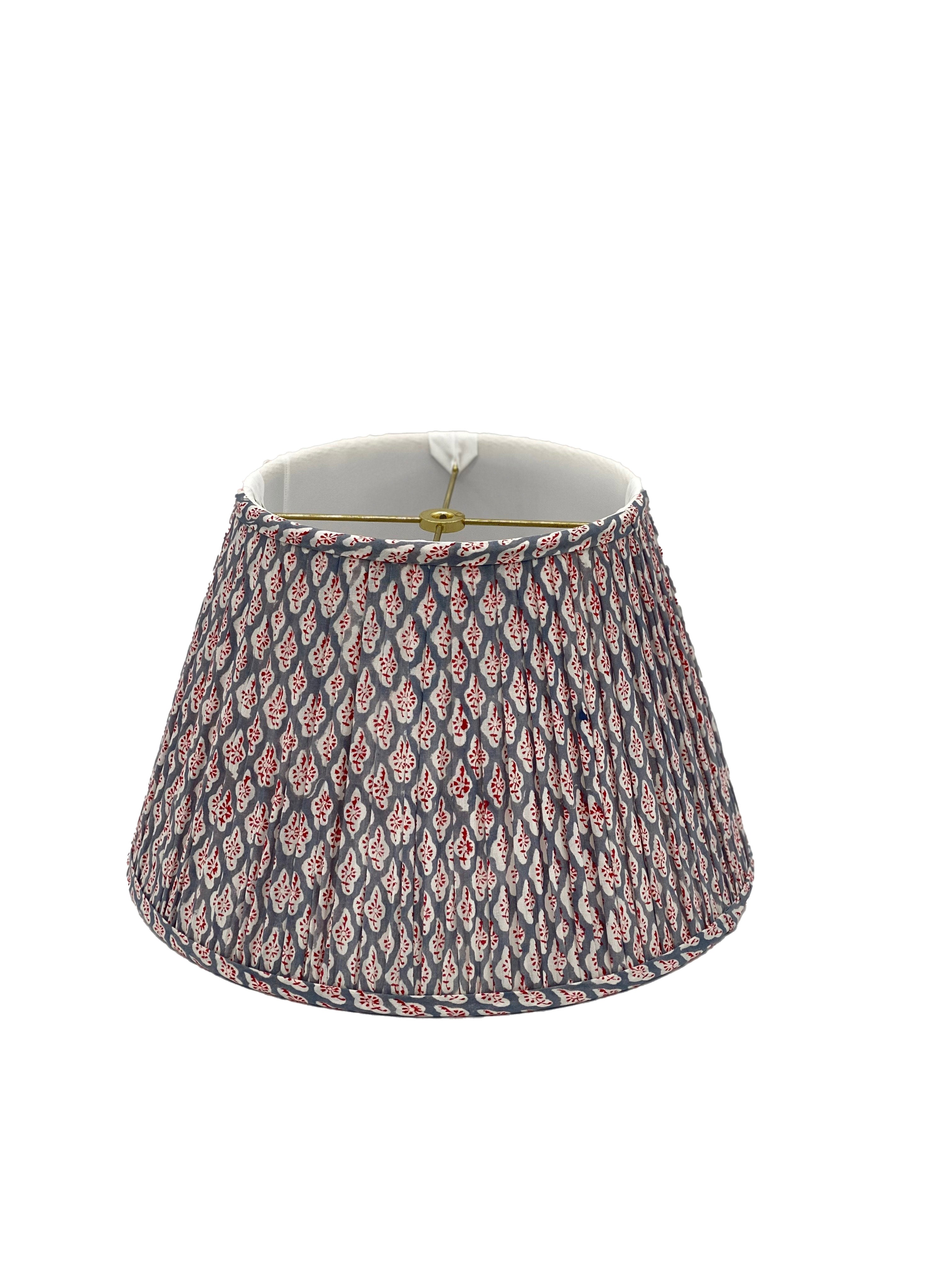 Gathered Gray/Red/White Empire Lampshade