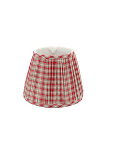 Gathered Red/Gray Plaid Empire Lampshade