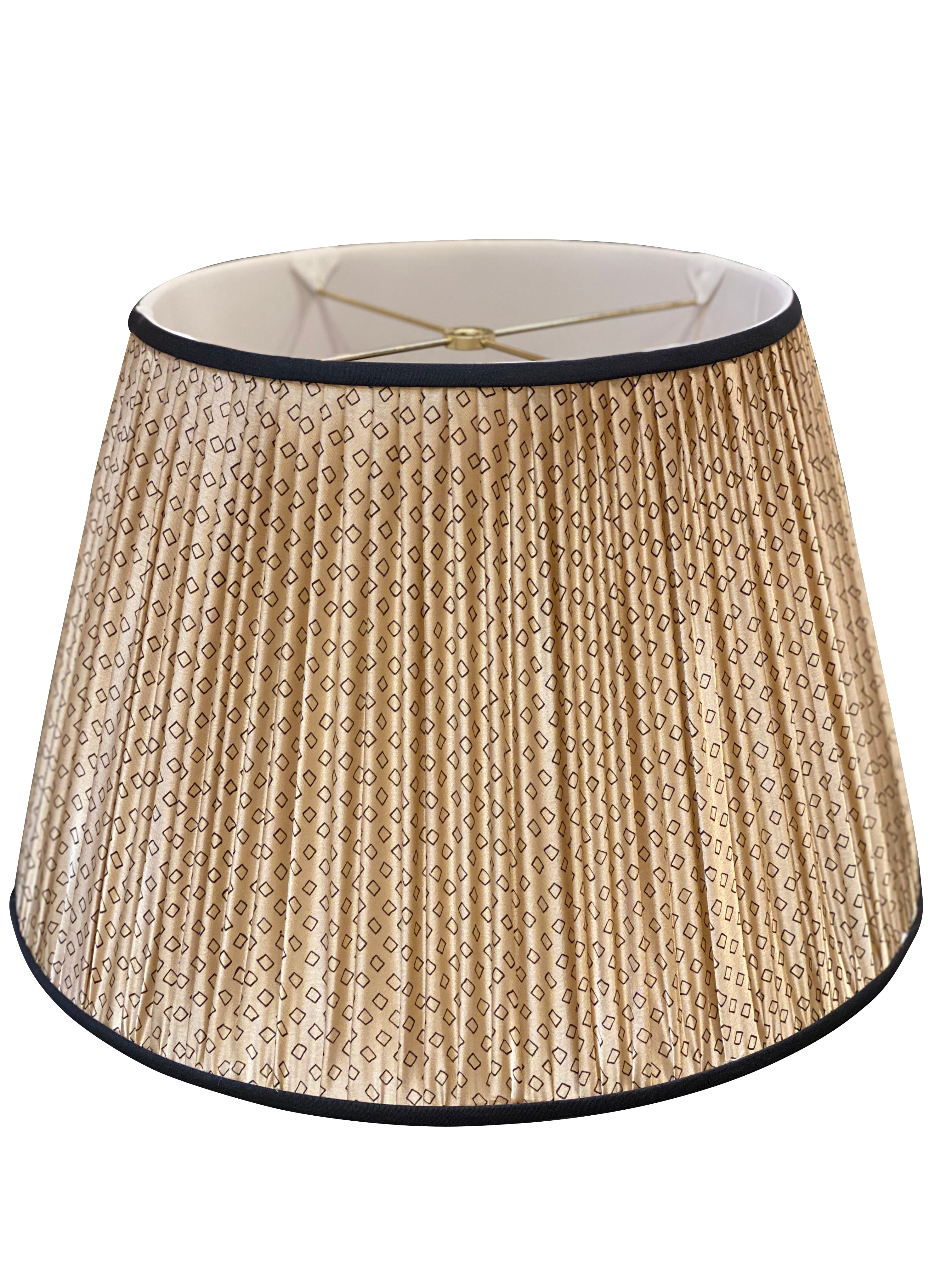 "Tan & Black Diamonds w/ Black Trim, Gathered Empire - 18"" Lampshade"