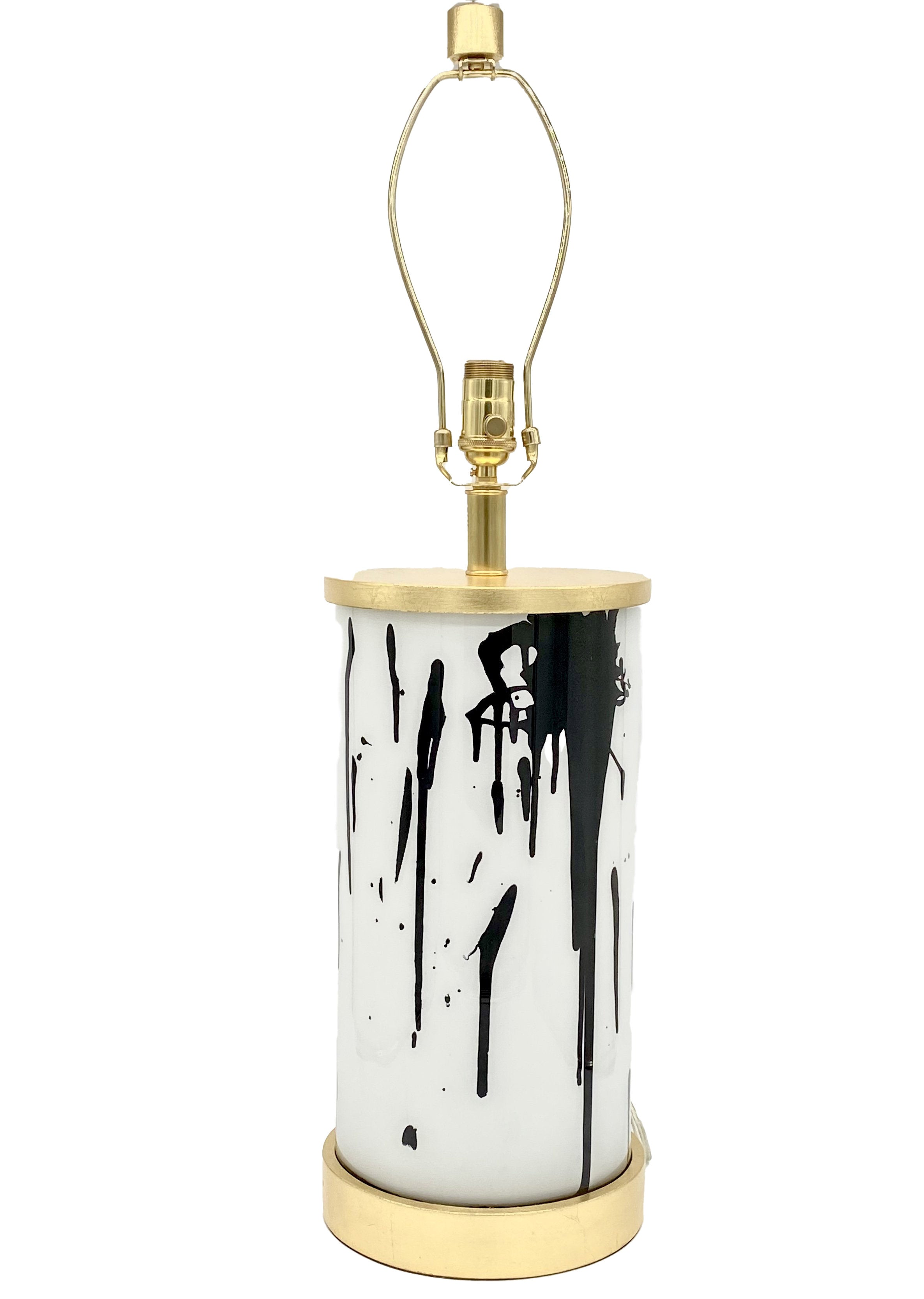 Paint Splatter Cylinder Lamp, Black/Gold