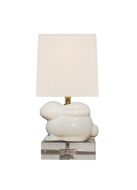Porcelain Bunny Lamp with Crystal Base