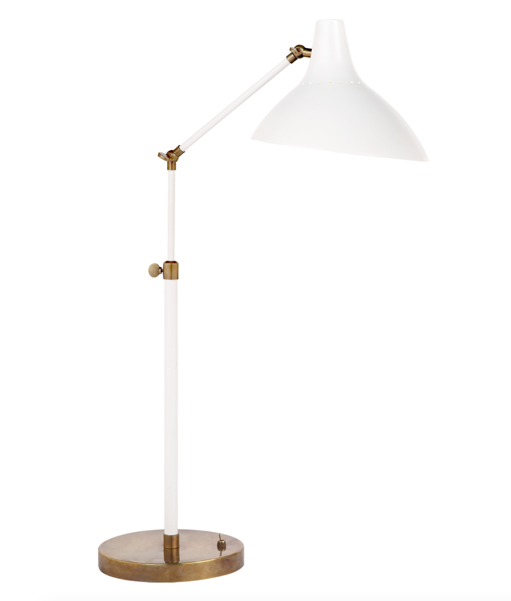 Charlton Table Lamp in White and Hand-Rubbed Antique Brass