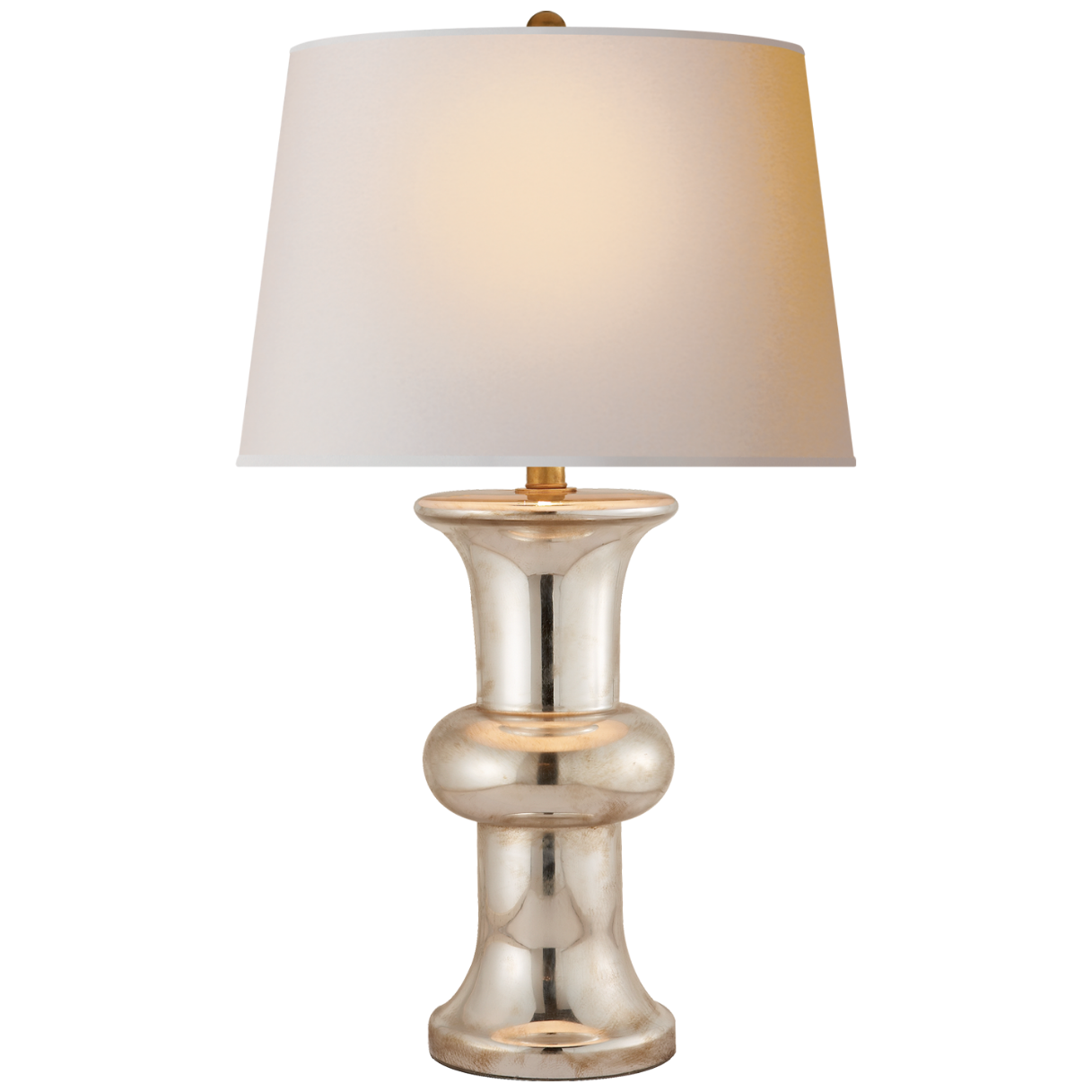 Bull Nose Cylinder Table Lamp in Mercury Glass