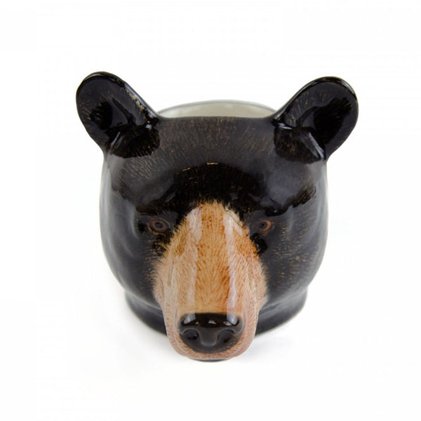 Black Bear Face Egg Cup - by Quail Ceramics