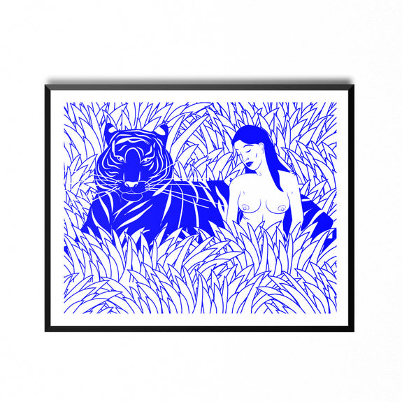 Blue Tiger - 30x40 cm print - by Kine Andersen
