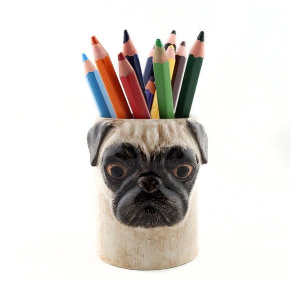 Pug Pencil Pot Fawn - by Quail Ceramics