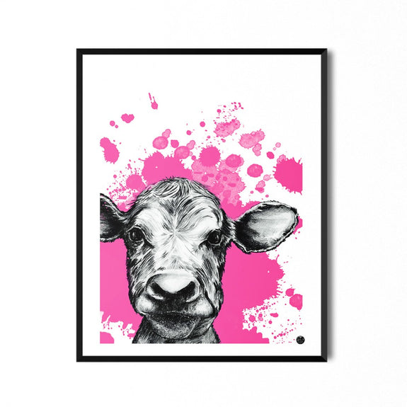 Print Of Pink Cow 30x40 - by Jeanette Sundal