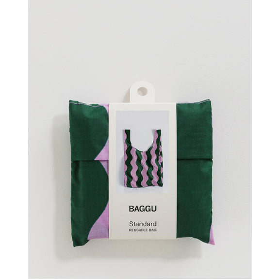 Reusable Bags Pink and Green Wavy Stripe - By Baggu