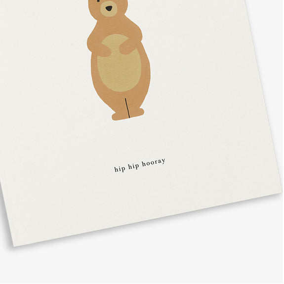 Greeting Card Birthday bear (hip hip hooray) - By Kartoteket