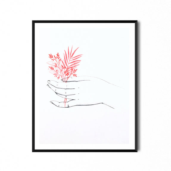 Hand with Flower Print A4 - by Eva Zurita