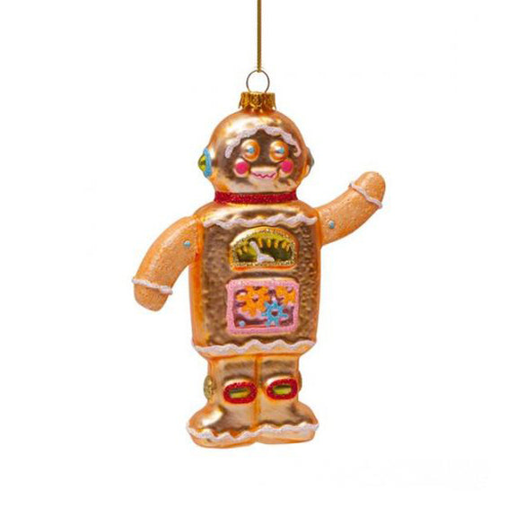 Ornament glass gingerbread robot boy H11cm - By Vondels