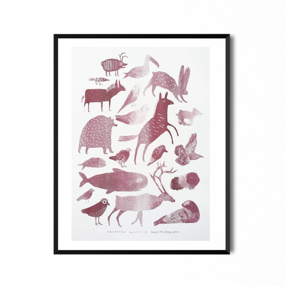 Animals Collected Riso Print Red 30x40 - Sunniva Krogseth