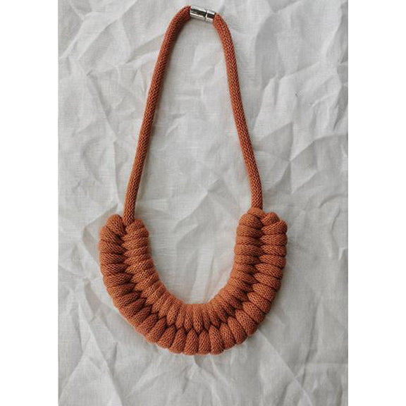 Macrame Necklaces Rusty Red - Studio Folklore