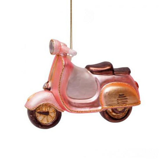 Ornament Glass Soft Pink Scooter H10 cm- By Vondels