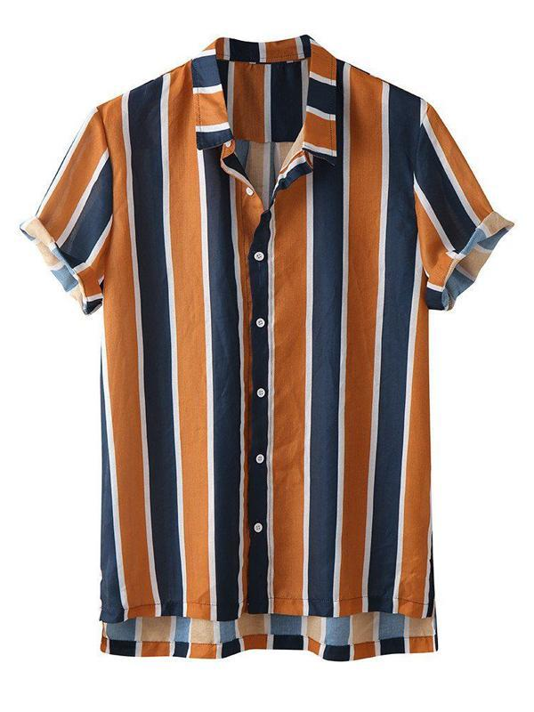 Men Casual Short Sleeves Striped Shirt