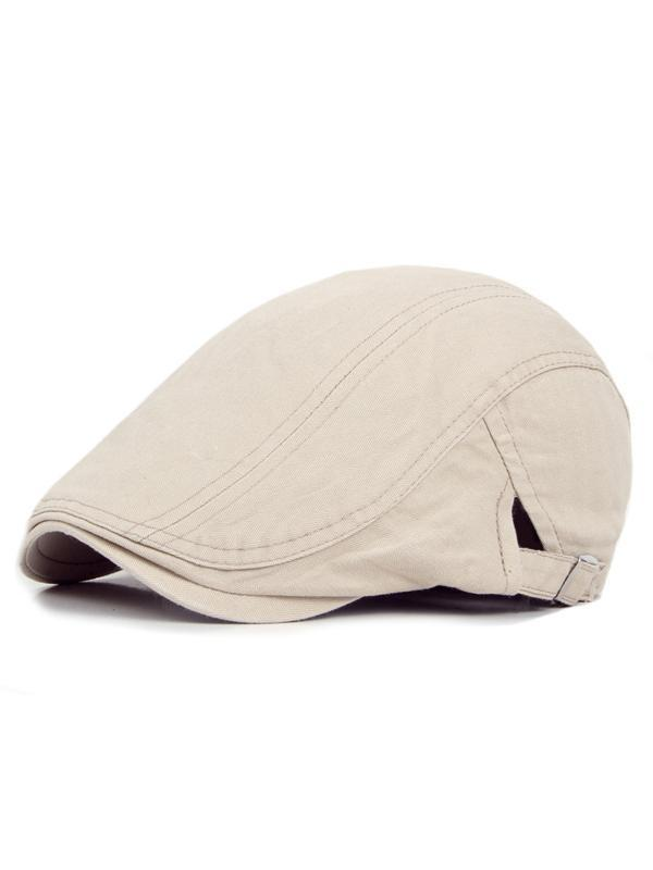 Adjustable Solid Cotton Casual Beret Hat