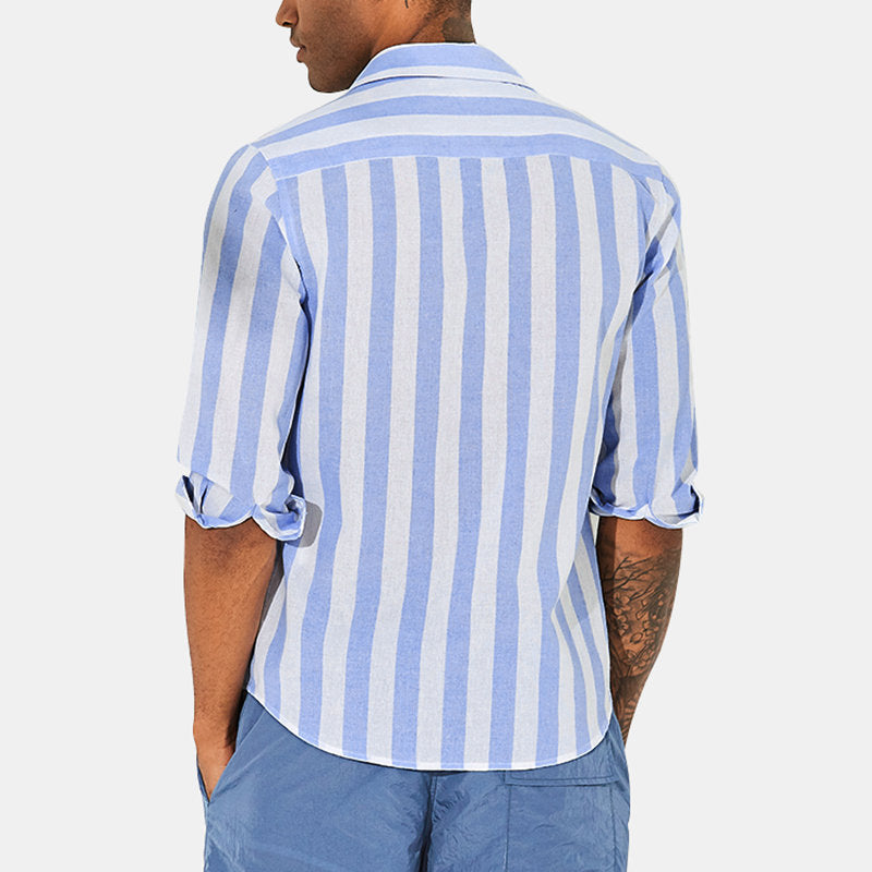 Men Striped Half Sleeves Lapel Casual Shirt