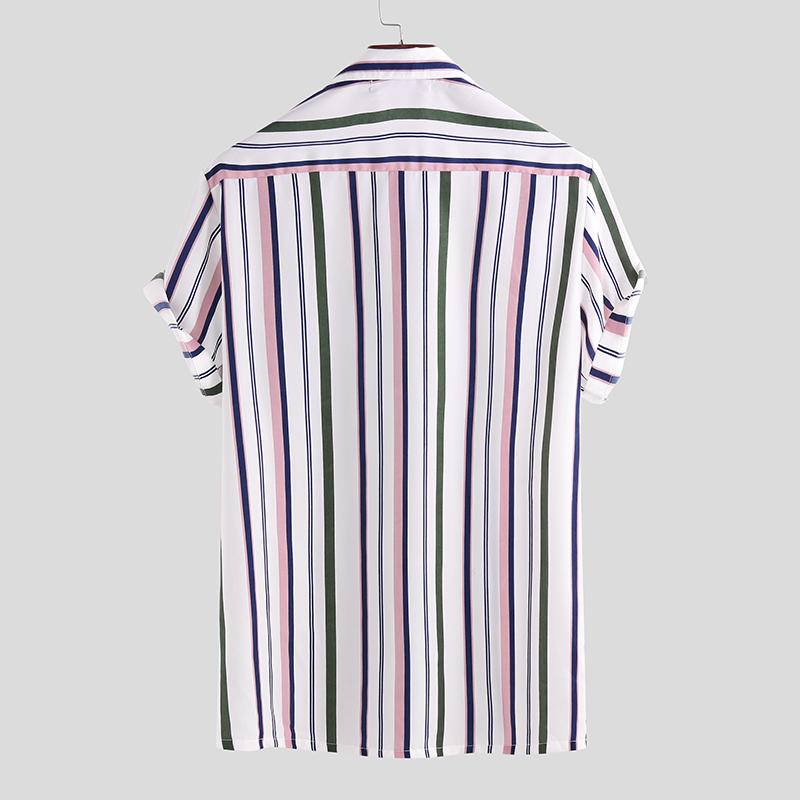 Men Short Sleeves Striped Shirt