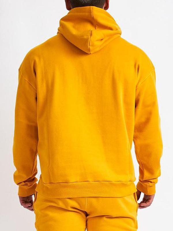 Yellow Men Letter Hoodie Sweatshirt