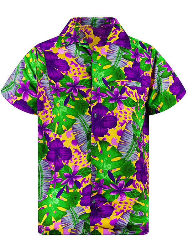 Men Casual Holiday Floral Short Sleeves Shirt