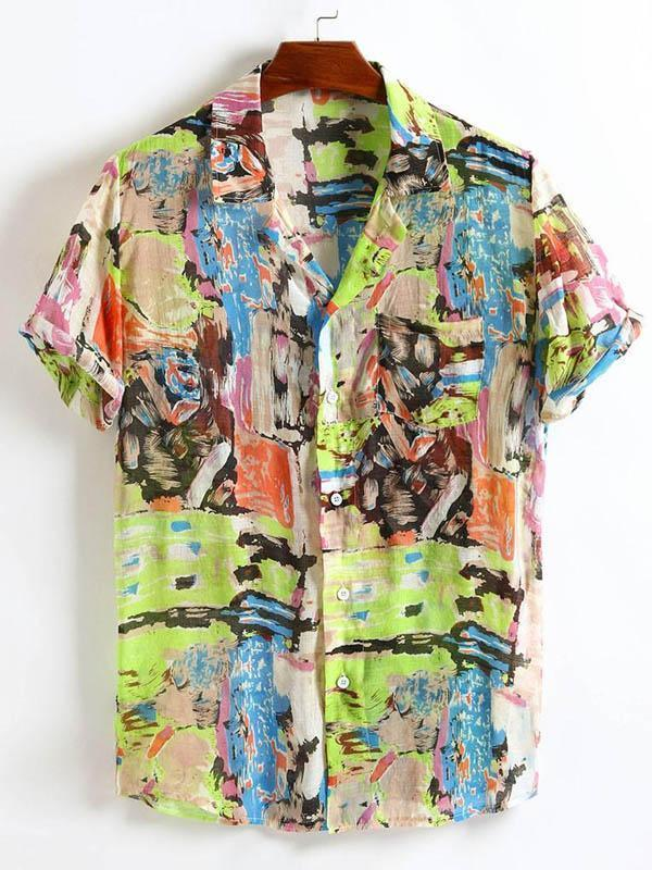 Mens Colorful Printed Lapel Blouses&Shirts