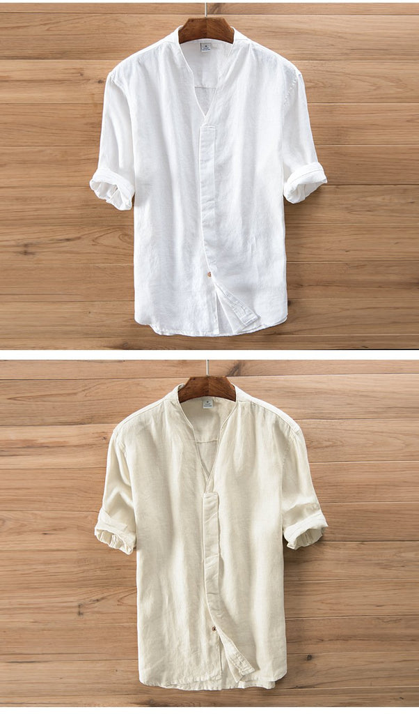 Men V-Neck Casual Solid Shirt