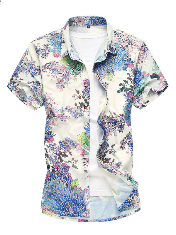 Men Casual Floral Summer Short Sleeves Shirt