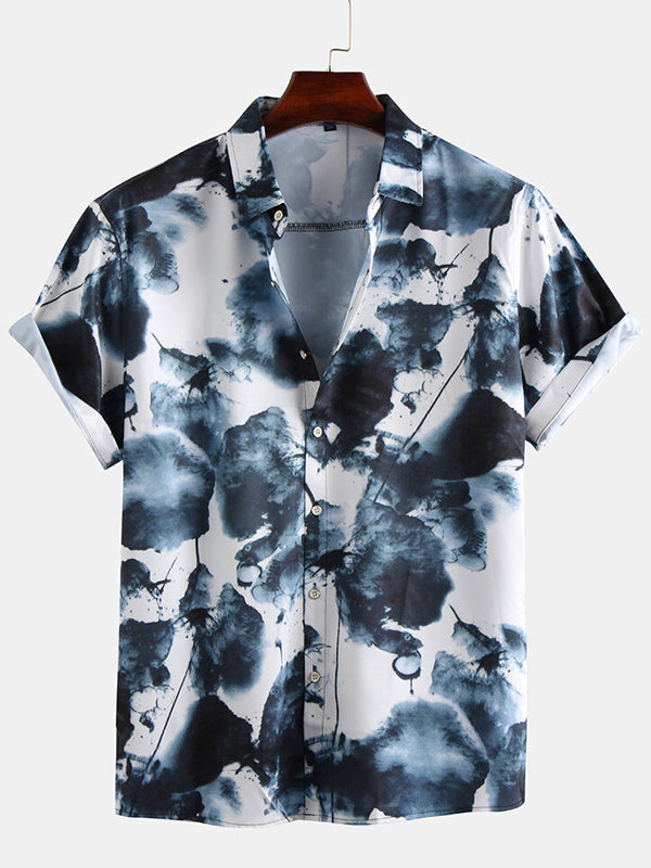 Men Short Sleeves Lapel Ink Printing Shirt