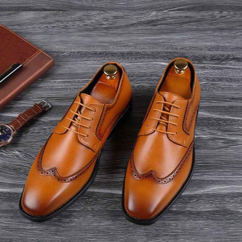 Men Low-Cut Upper Square Head PU Shoes