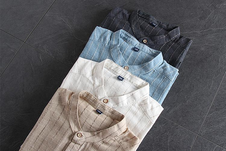Men Casual Stand Collar Striped Shirt
