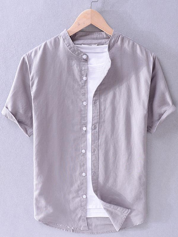 Men Casual Short Sleeves Round-Neck Shirt