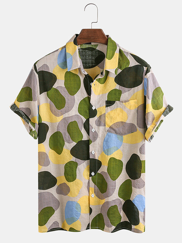 Mens Multi-Color Irregular Printed Short Sleeve Shirt