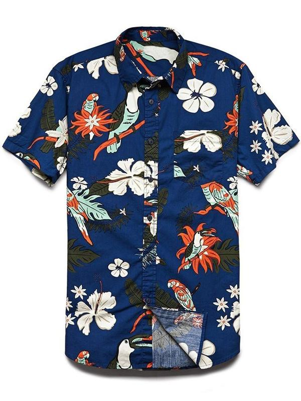 Men Fashion Printed Daily Short Sleeves Shirt