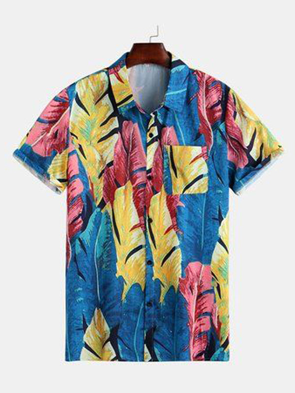 Men Printed Short Sleeves Lapel Casual Shirt