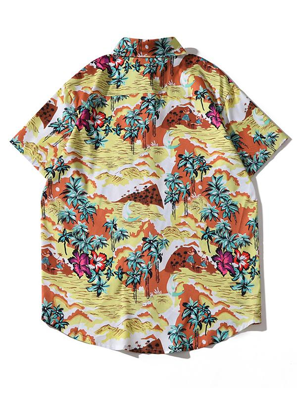 Men Coconut Tree Printed Lapel Shirt