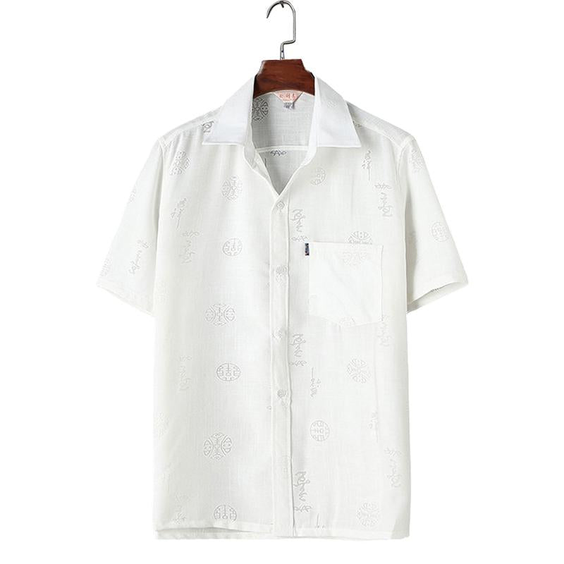 Men Simple Printed Short Sleeves Shirt