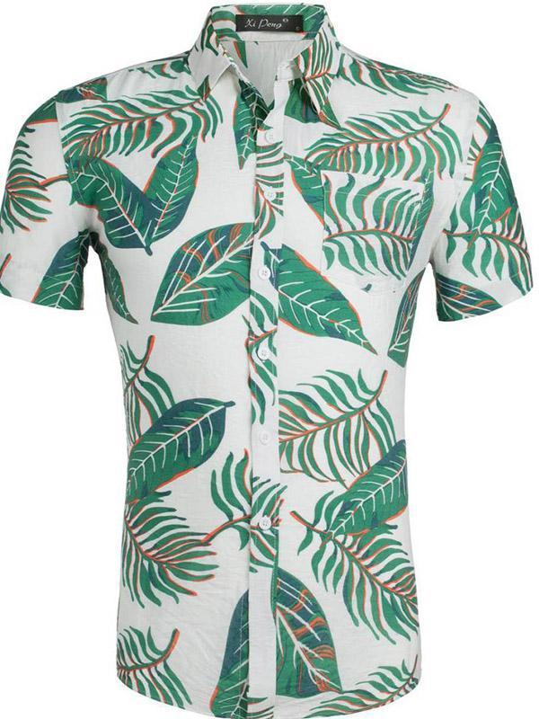 Men Hawaiian Style Printed Casual Lapel Short Sleeves Beach Blouses&shirts Tops