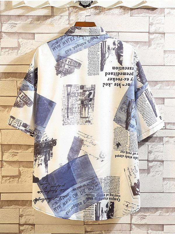 Men Printed Short Sleeve Lapel Casual Blouse