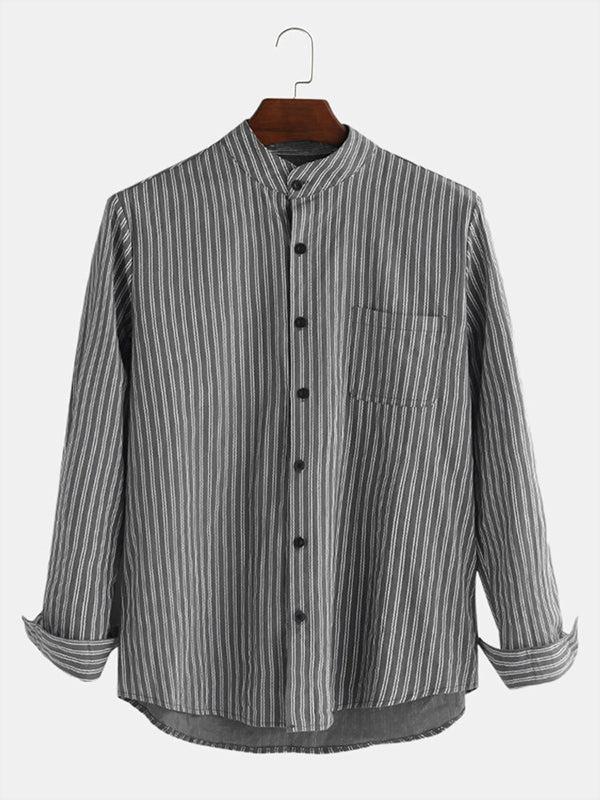 Men Striped Retro Breathable Long Sleeve Casual Shirt