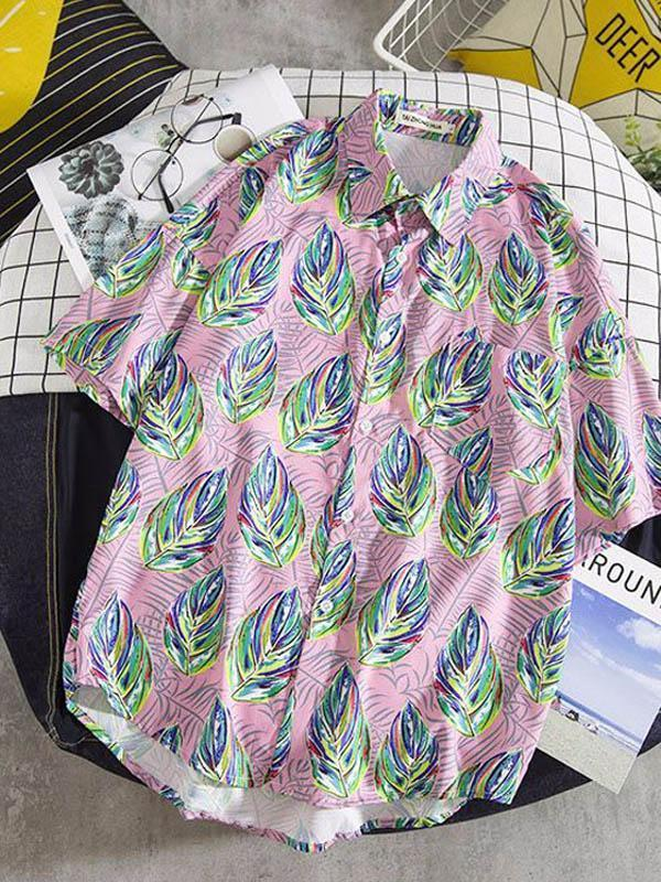 Vacation Style Printed Short Sleeves Mens Blouse&shirt