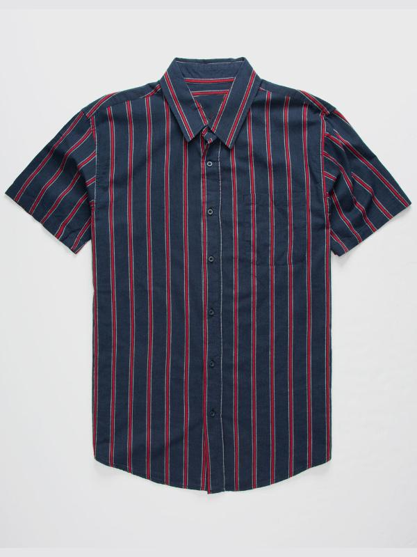 Men Casual Striped Short Sleevse Shirt